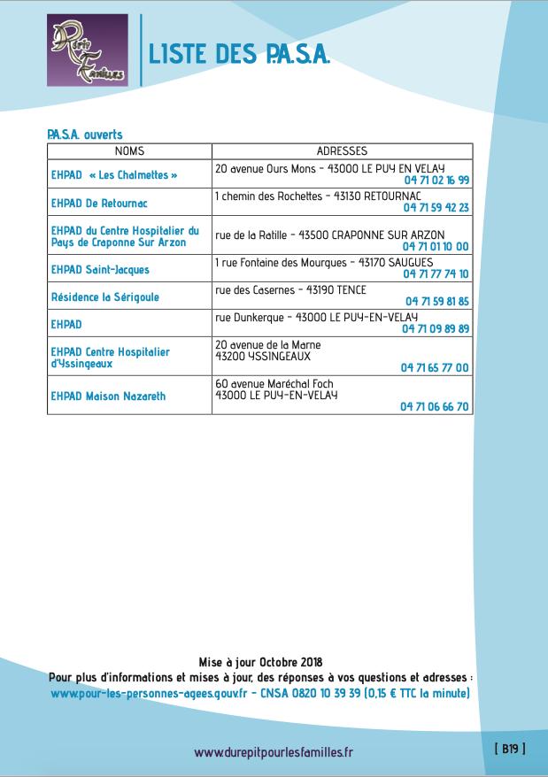 B19 liste des pasa